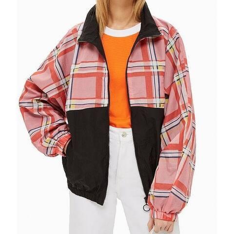 TopShop Womens Jacket Black Size 4 Windbreaker Plaid Print Colorblock
