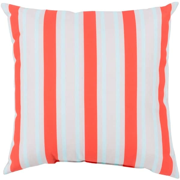 "20"" Bright Orange, Ivory and Sky Blue Striped Square Decorative Throw Pillow"