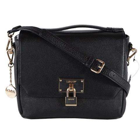 DKNY Black Leather Crosby Convertible Crossbody Handbag Purse Bag