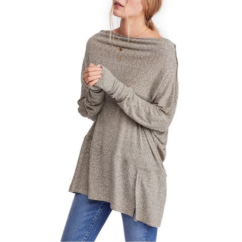 Free People Womens Top Gray Size Large L Split Hem Ribbed Knit Thermal