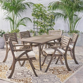 Link to Hermosa Outdoor 7-pc. Acacia Rectangular Cushioned Dining Set Similar Items in Outdoor Dining Sets