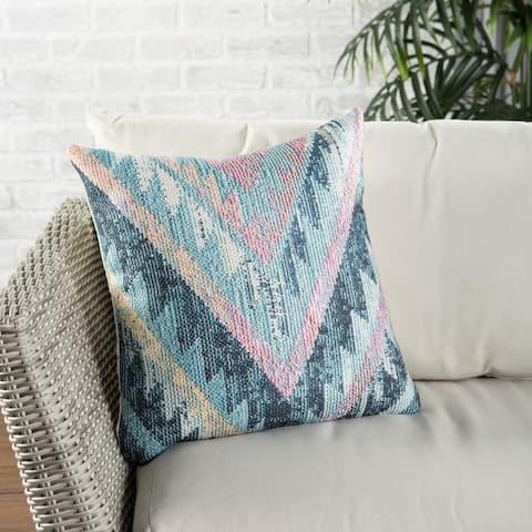 Nikki Chu Petra Indoor/ Outdoor Tribal Blue/ Multicolor Throw Pillow