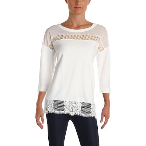 French Connection Womens Pullover Top Knit Lace-Trim