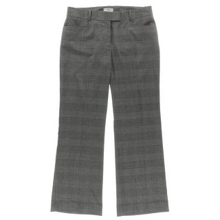 Tahari ASL Womens Petites Dress Pants Plaid Faux Back Pockets