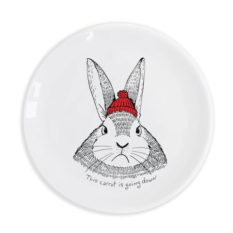 """This carrot is going down"" Hungry Bunny Ceramic 9.8"" Plate"