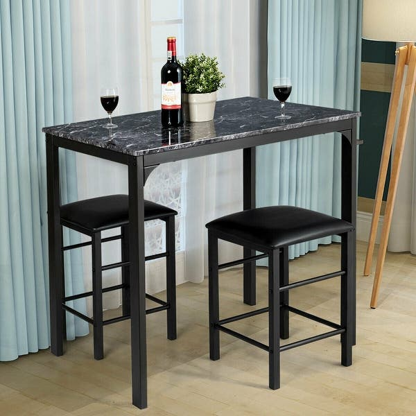 Dining Set Faux Marble Table 2 Chairs