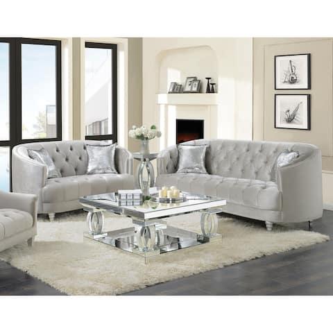 Elliston Grey 2-piece Tufted Living Room Set