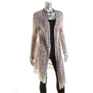Oh MG! Womens Juniors Marled Crochet Trim Duster Sweater
