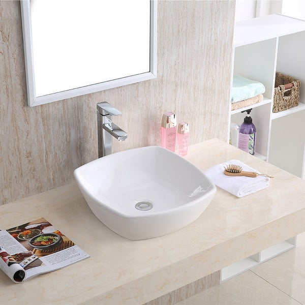 "Karran VC-509-WH Valera 17"" Vitreous China Vessel Bathroom Sink in White. Opens flyout."