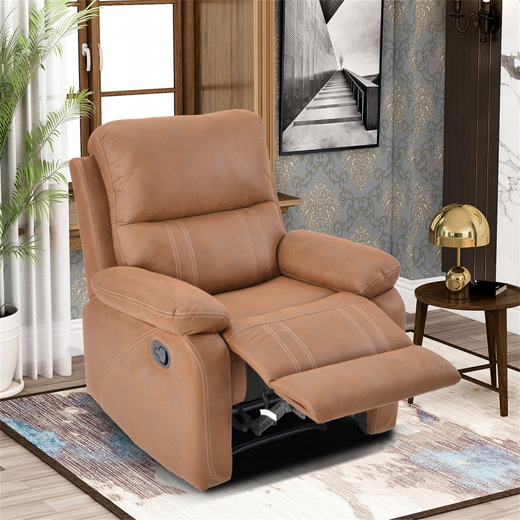 Recliner Chair With Padded Seat Faux Leather Home Theater Seating On Sale Overstock 31806367