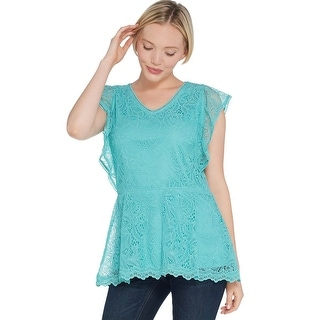 Link to Isaac Mizrahi Womens Stretch Flutter Sleeve Peplum Tunic 2X Turquoise A308016 Similar Items in Loungewear