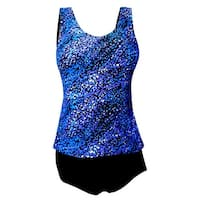 Tank Strap Tankini Top with Black Brief in Blue Tiled Mosaic Print