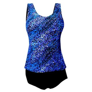 Tank Strap Tankini Top with Black Brief in Blue Tiled Mosaic Print (Option: 20w)