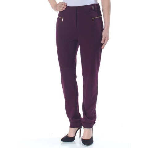 CALVIN KLEIN Womens Purple Straight leg Wear To Work Pants Size: 12
