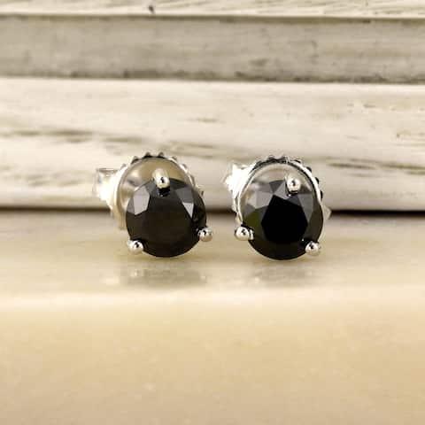 Auriya 1/2 to 4ctw Black Diamond Stud Earrings 14k White Gold Martini-set