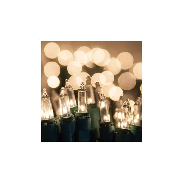 """8.3' Long Indoor Standard 20 Mini Light Holiday Light Strand with 4"""" Spacing and Green Wire - CLEAR - N/A"""