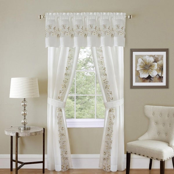 Fairfield Complete 5-Piece Panel, Valance & Tieback Set
