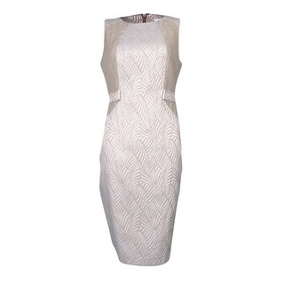 Calvin Klein Women's Mix Media Jacquard Sheath Dress - Mint/White