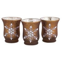 Pack of 18 Jeweled Snowflake Mocha Brown Glass Tea Light Candle Holders 3.5""