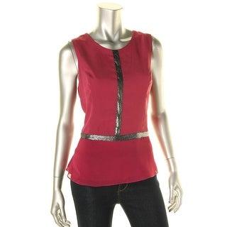 Liquid New York Womens Peplum Hidden Back Zipper Pullover Top - L