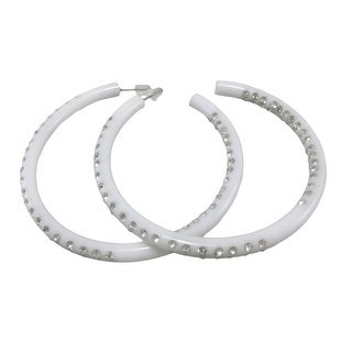 Rhinestone Encrusted Large White Hoop Earrings