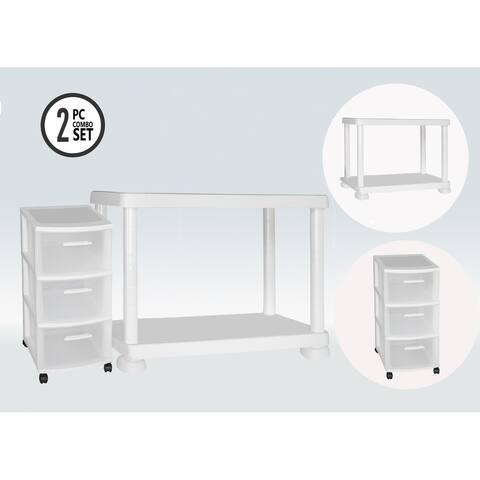 MQ 2-Tier Storage Shelf with Rolling Storage Cart