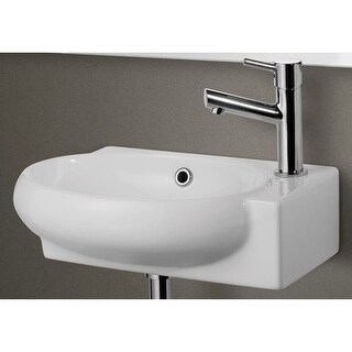 """ALFI brand AB107 9-1/2"""" Porcelain Wall Mount Bathroom Sink with Single Hole Dril - White"""