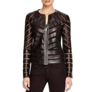 Bagatelle Womens Jacket Faux Leather Mesh Inset