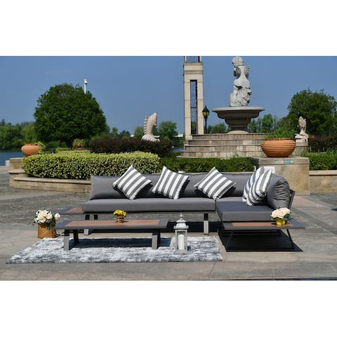4-Piece Outdoor Aluminum V-Shaped Sofa Set by Moda Furnishings