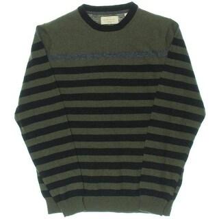 Weatherproof Vintage Mens Merino Wool Blend Striped Pullover Sweater