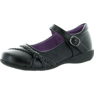 School Rider Girls Nicki-577E Hemp Decor Mary Jane Buckle Strap School Uniform Shoes