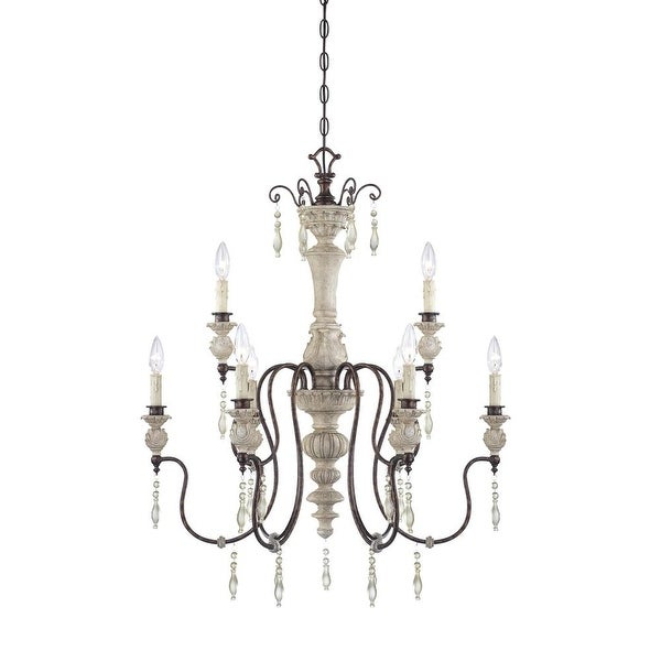 Millennium Lighting 7309 Denise 9-Light Two Tier Chandelier - antique white/bronze
