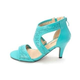 Masseys Womens Pamala TRQ Open Toe Casual T-Strap Sandals - 11