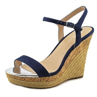 Charles By Charles David Arizona Women  Open Toe Canvas Blue Wedge Sandal