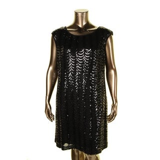 Connected Apparel Womens Plus Cocktail Dress Sequined Sleeveless - 18W