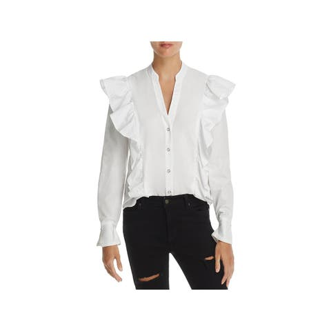 Splendid Womens Button-Down Top Woven Ruffled