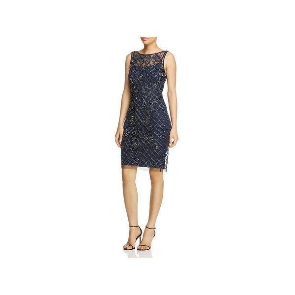 Adrianna Papell Womens Cocktail Dress Beaded Above Knee