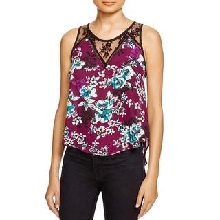 Aqua Womens Casual Top Lace Trim Floral Print