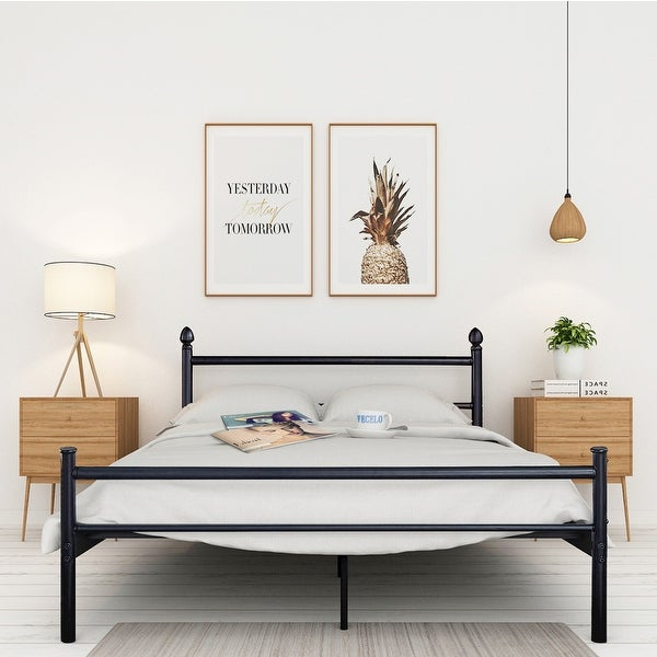 shop vecelo queen metal bed frames with simple headboard and footboard free shipping today. Black Bedroom Furniture Sets. Home Design Ideas