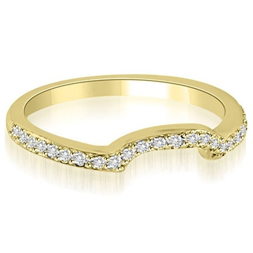 0.20 cttw. 14K Yellow Gold Curved Round Cut Diamond Wedding Band