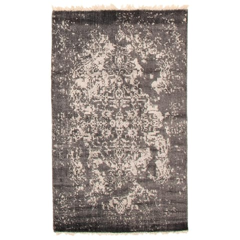 ECARPETGALLERY Hand-knotted La Seda Dark Grey Silk, Wool Rug - 2'11 x 4'11