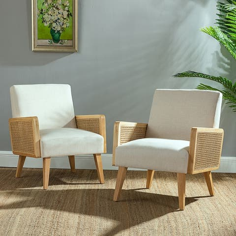 Delphine Cane upholstered Accent Chair with Tapered Leg ,set of 2