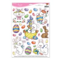 """Club Pack of 312 Easter Clings Holiday Vinyl Window Decorations 17"""" - Multi"""