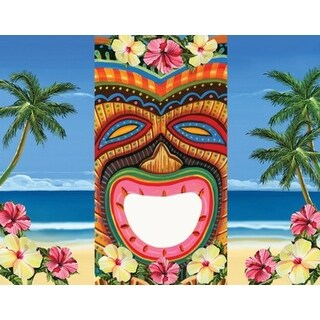 "Pack of 6 Tropical Island Tiki Bean Bag Toss Game Boards 30"" - multi"