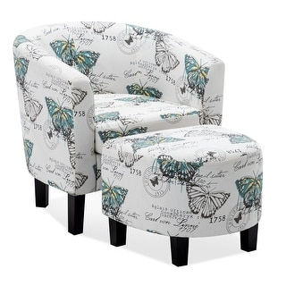 BELLEZE Modern Upholstered Barrel Accent Chair Armrest With Ottoman Footrest, White