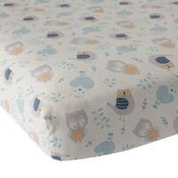 Lambs & Ivy Happi by Dena™ Night Owl White/Blue/Gray 100% Cotton Baby Fitted Crib Sheet