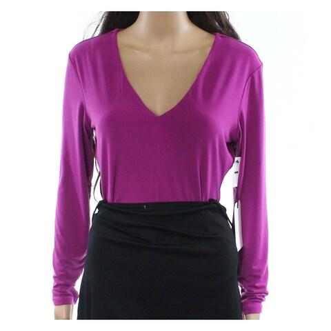 Leith Purple Womens Size L V-Neck Bodysuit Long-Sleeve Blouse