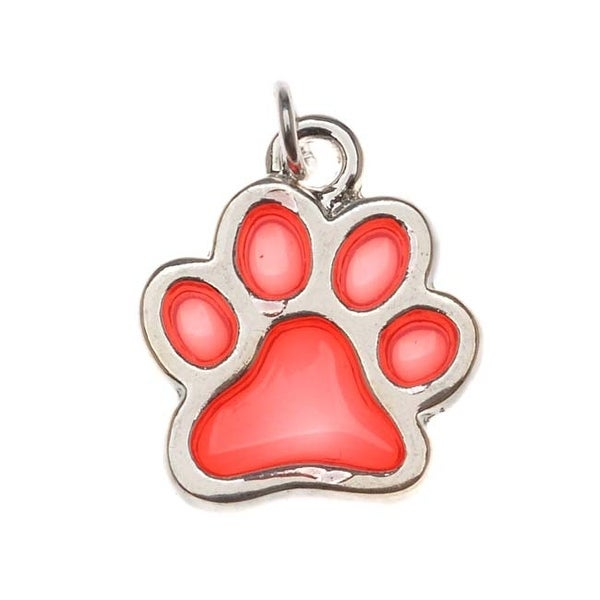 Silver Plated Transparent Red Enamel Paw Print Charm 16mm (1)