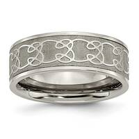 Chisel Titanium 8mm Satin and Polished Scroll Design Band