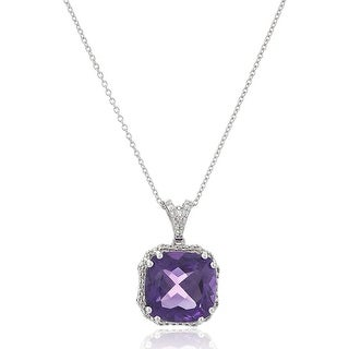 "Link to Natural Amethyst Cushion Pendant with Diamonds in Sterling Silver, 18"" - Purple Similar Items in Necklaces"
